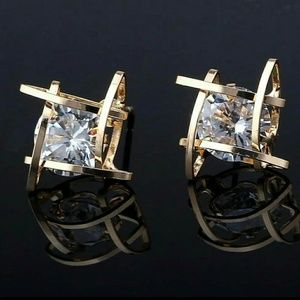 Gold Diamond Stone Stud Cubed Earrings
